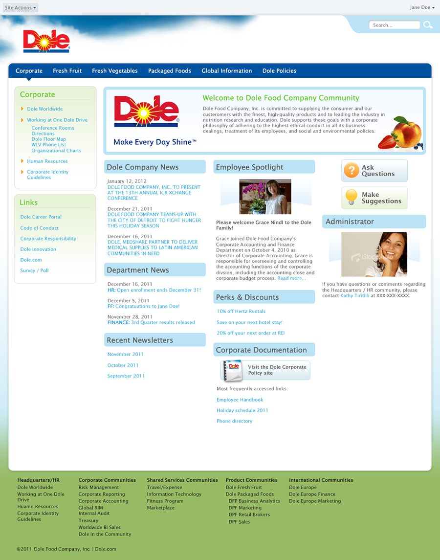 Dole intranet design